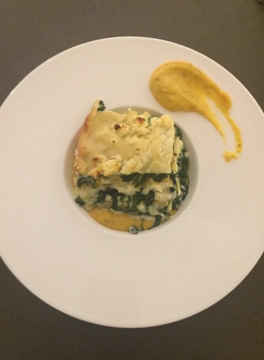 Lasagne met spinazie, pompoen en feta