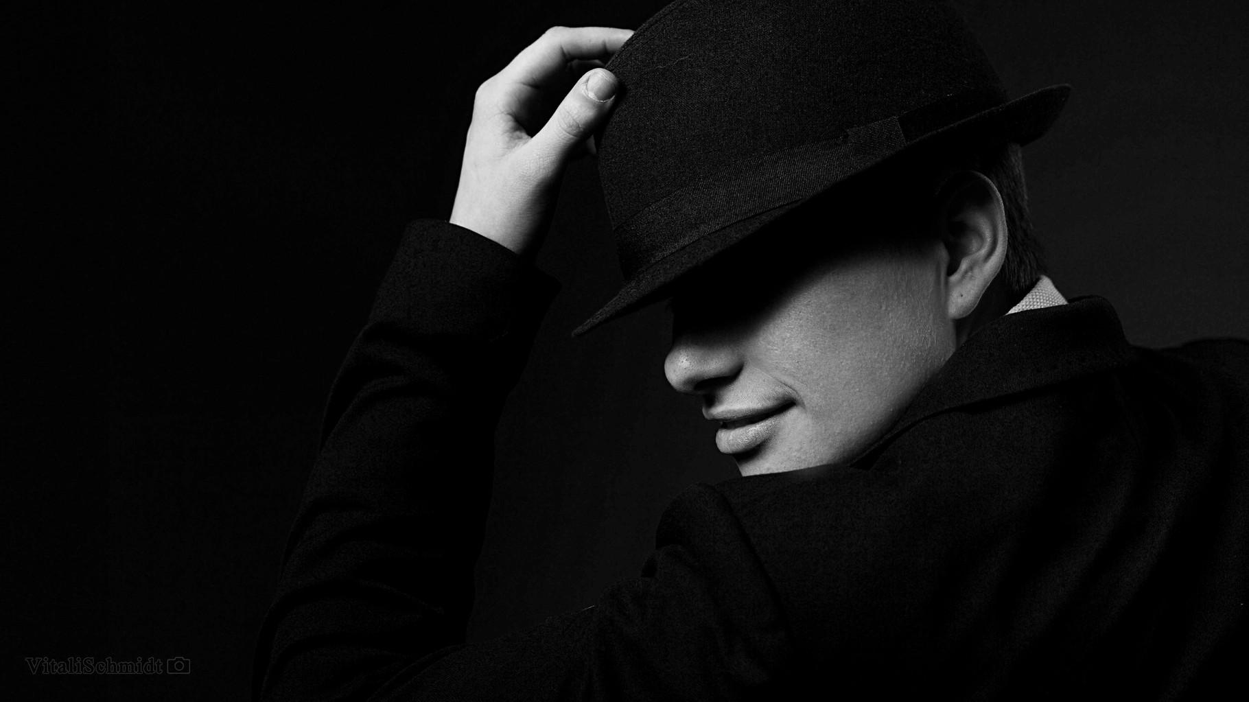 Schwarz Weiß Portrait im mobilem Photostudio