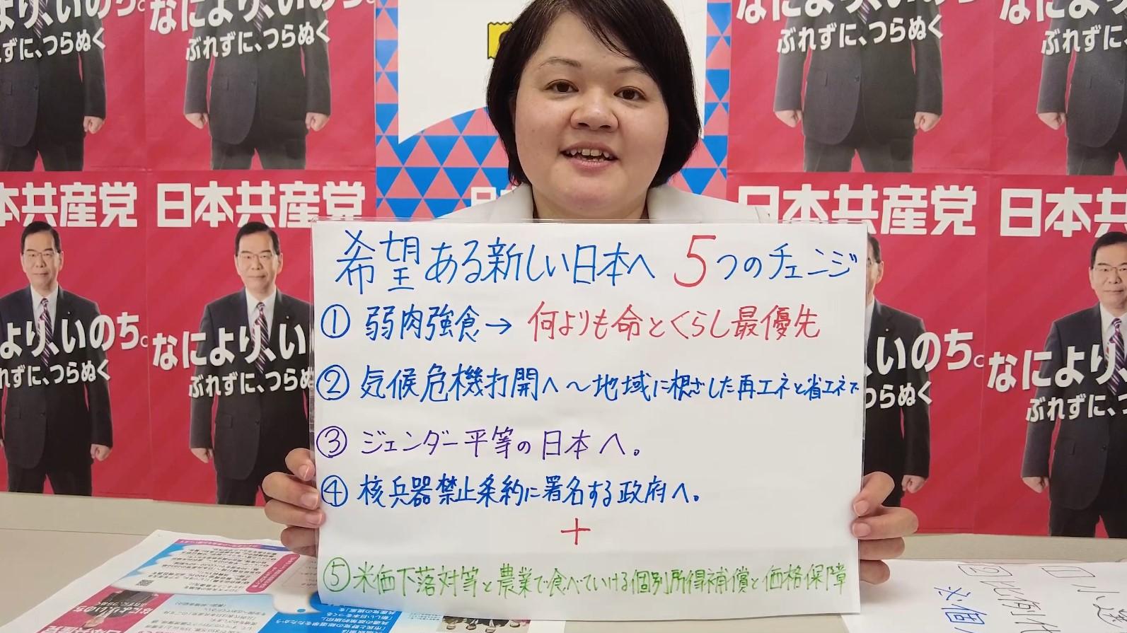 藤本友里「希望ある新しい日本へ5つのチェンジ」のお話と衆院選挙制度解説について