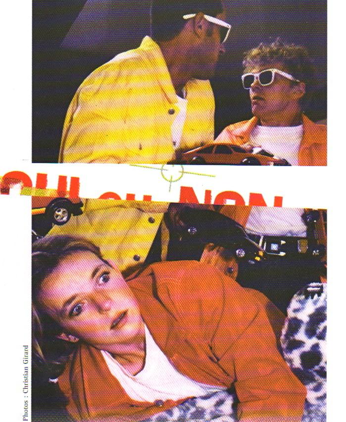 Photo de Christian Girard, mise en scène de Ariane Buhbinder avec Francesco Ceccherini (en jaune), E. Bonmariage, Ph. Derlet (et Marie-Yolaine Alber) - Texte de Marie-France Hébert