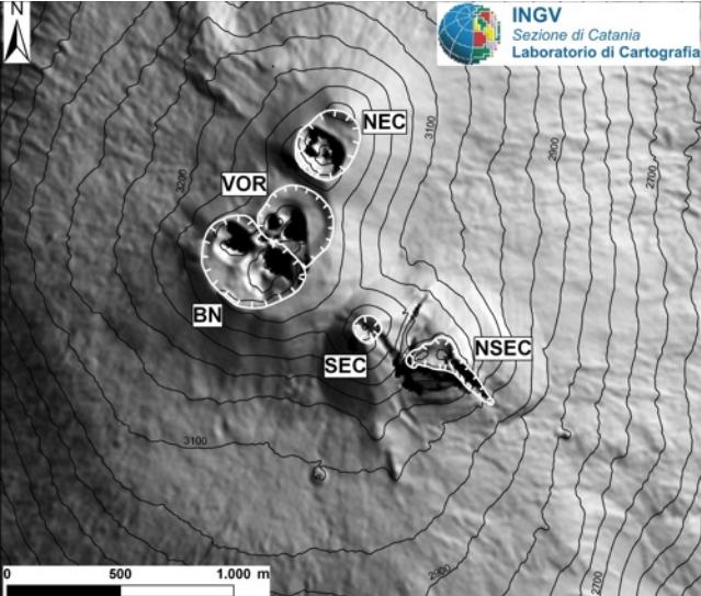 PHOTO: INGV. Mappa dell'area craterica sommitale (non aggiornata). Le linee bianche indentate evidenziano l'orlo dei crateri sommitali: BN = Bocca Nuova; VOR = Voragine; NEC = Cratere di Nord-Est; SEC = Cratere di Sud-Est; NSEC = Nuovo Cratere di Sud-Est