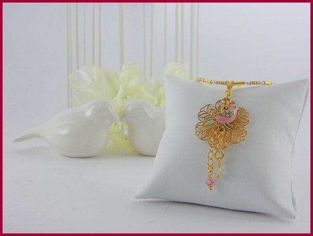 Collier mit Vogel und Swarovski-Kristallen