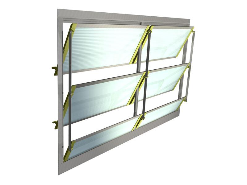 Schema Steuerbare Fensterfassaden im Rinderstall