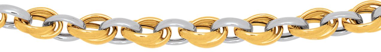 Collier doubles anneaux, bicolore.