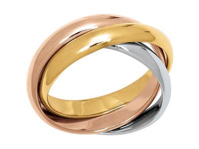 Bague 3 anneaux, or tricolore 18 carats.