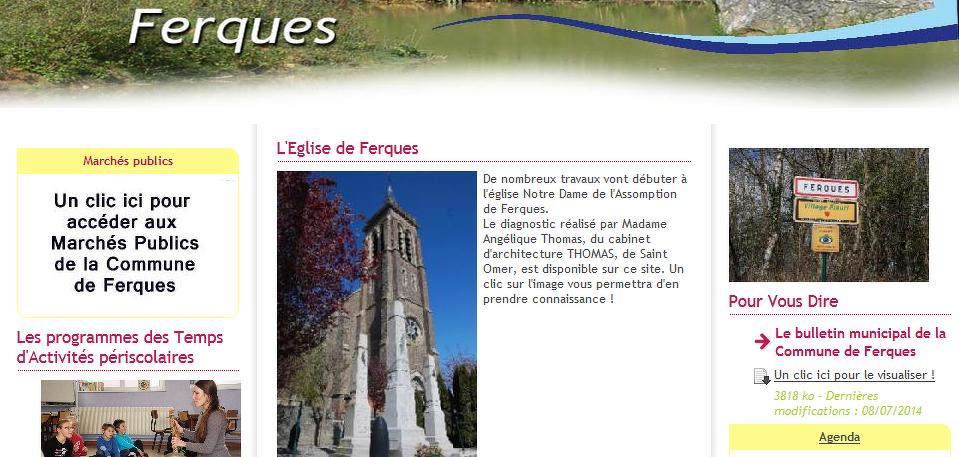 Page d'accueil du site Internet de la ville de Ferques