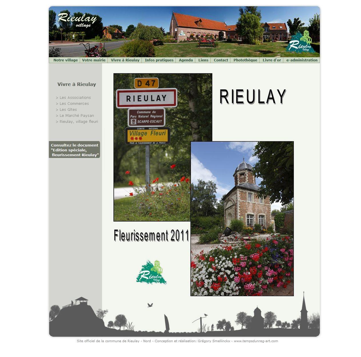Onglet spécifique « Rieulay, village fleuri » sur le site Internet de Rieulay