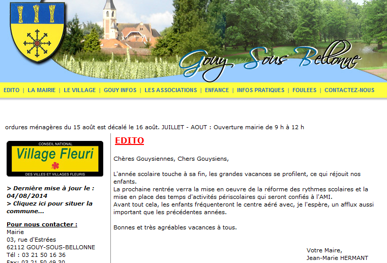 Page d'accueil du site Web de Gouy-sous-Bellonne