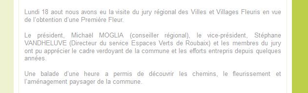Actualité du site Web de Vendegies sur Ecaillon