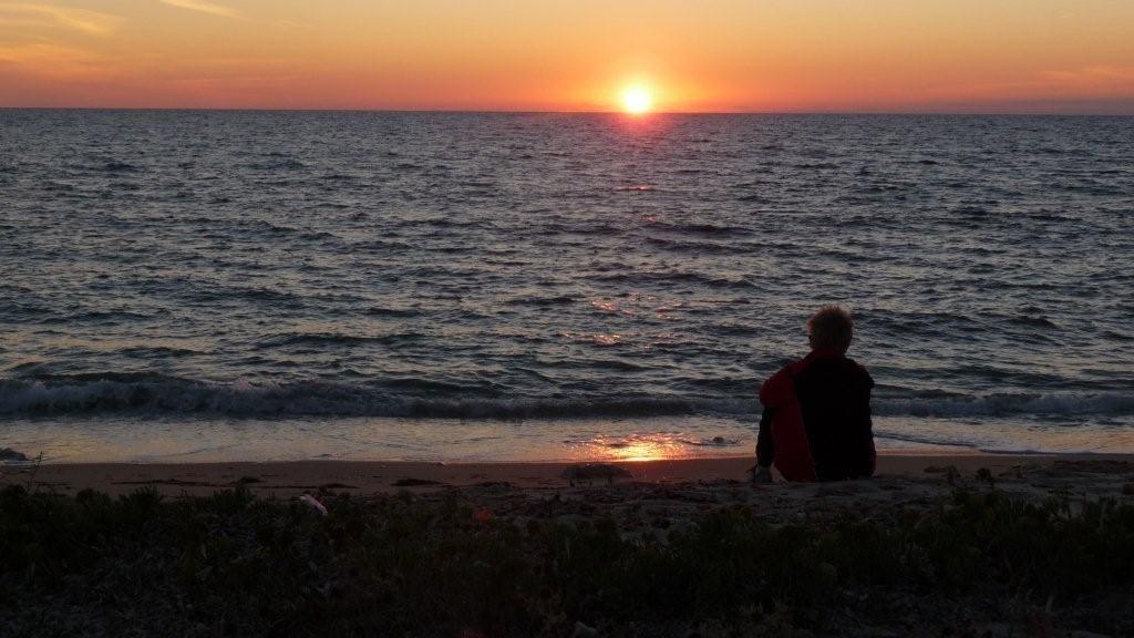 Sonnenuntergang am Reiskörner-Strand