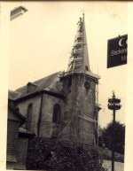 Burbacher Kirche  1952  Dachsanierung Kirchturn