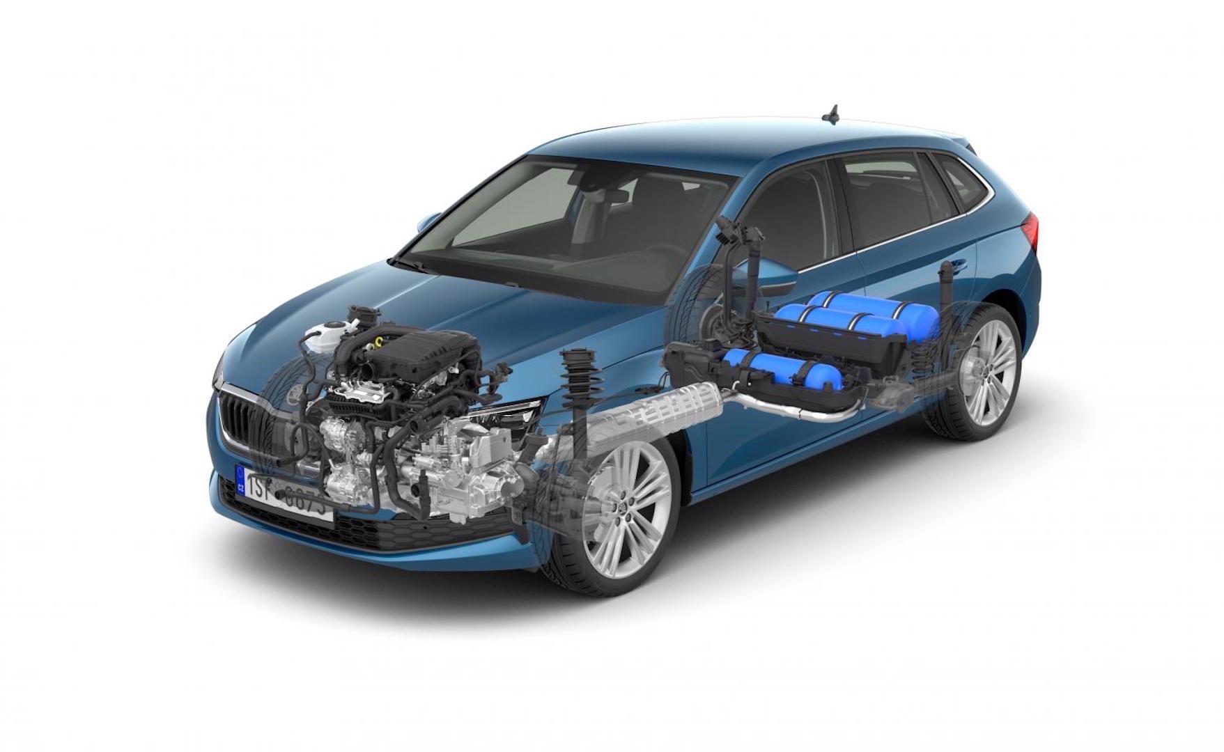 Der Škoda Scala 1,0 G-TEC Dreizylinder ist hauptsächlich auf den Betrieb mit Erdgas (CNG) ausgelegt. Der Motor fährt auch mit Benzin. Die neueste Version des CNG Triebwerkes verfügt über 66 kW (90 PS).