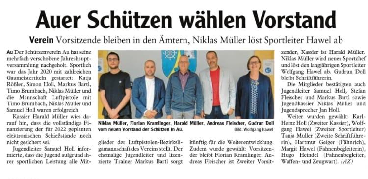 Illertisser-Zeitung vom 27.08.21 - Generalversammlung incl. Neuwahlen