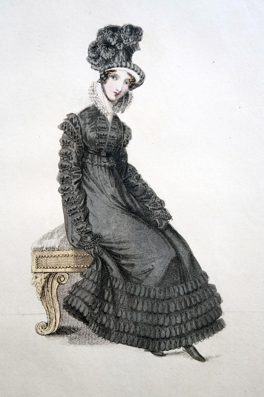 Trauerkleidung für Spaziergänge, La Belle Assemblee, 1. März 1820
