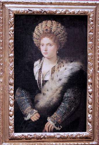 Isabelle d'Este wearing a Balzo, Titian (Flickr, picture by jean louis mazieres) Renaissance hairstyle fashion Borgia