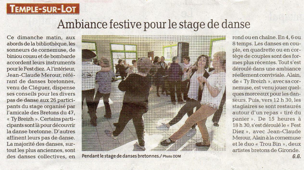 Stage de danses et Fest-Deiz le 17 Février 2019  La Dépêche.