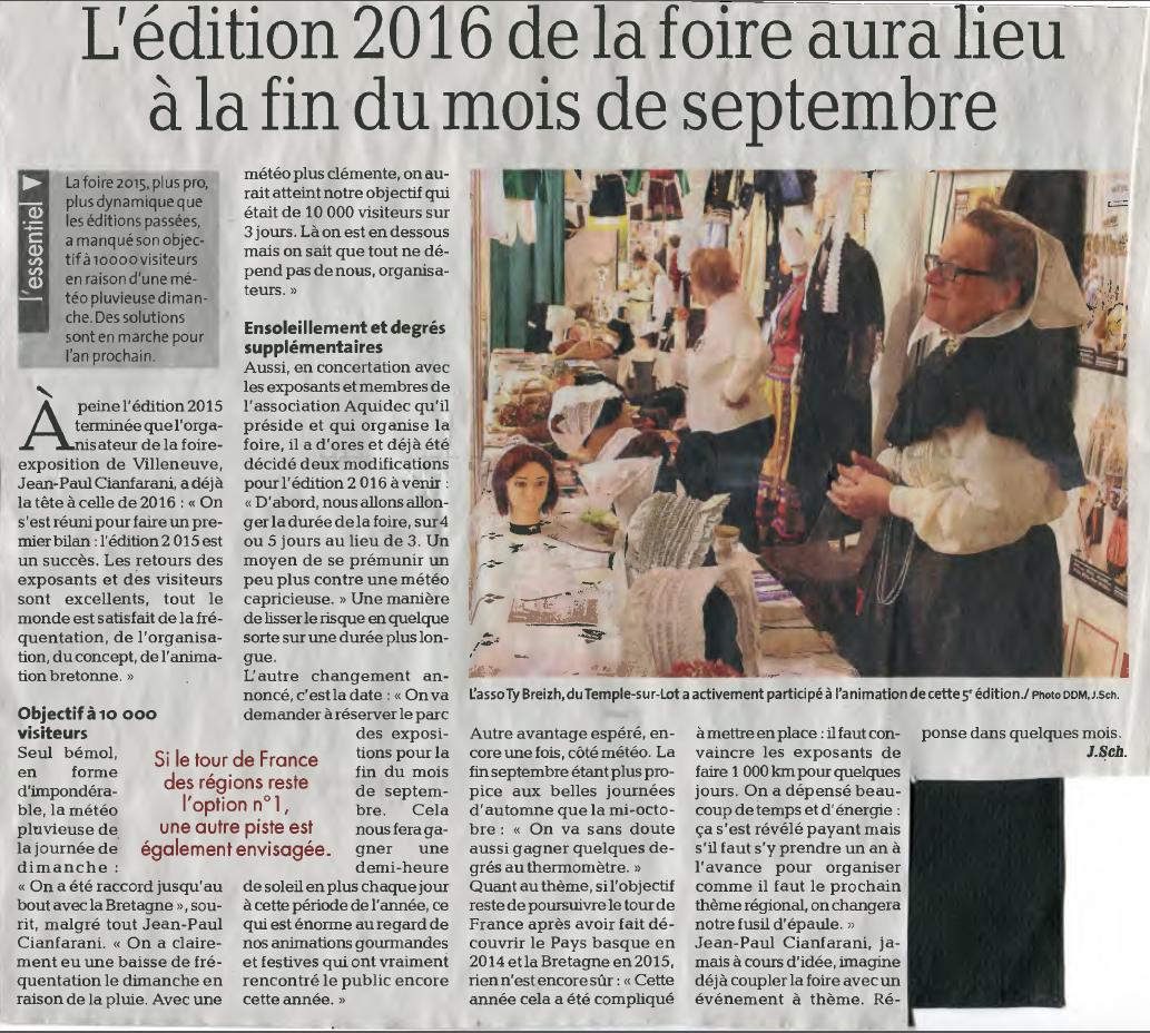 Foire de Villeneuve sur Lot 16 au 18 / 10 /2015