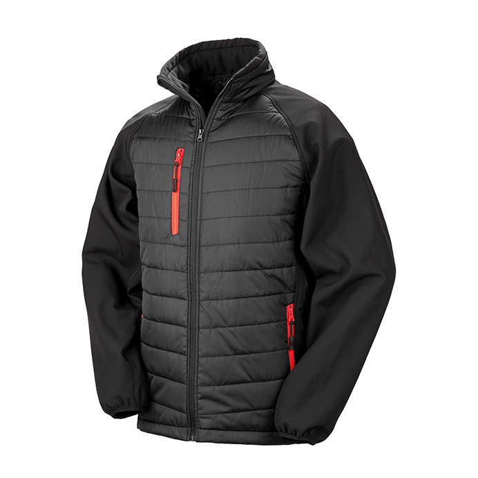 Printed Padded Soft Shell Jackets Black & Red