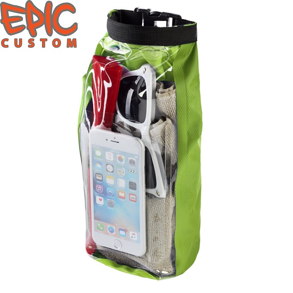 Custom Printed Waterproof Dry Bags with Phone Pouch GREEN