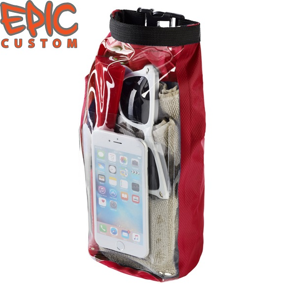 Custom Printed Waterproof Dry Bags with Phone Pouch RED