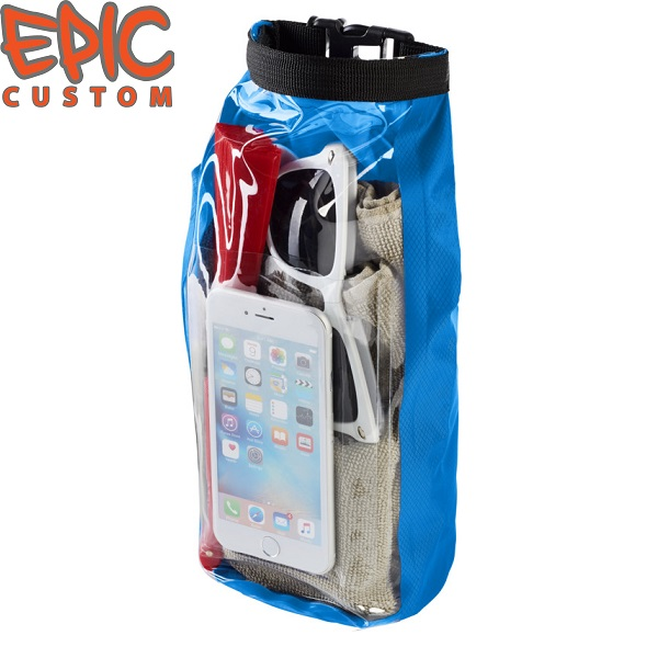 Custom Printed Waterproof Dry Bags with Phone Pouch LIGHT BLUE