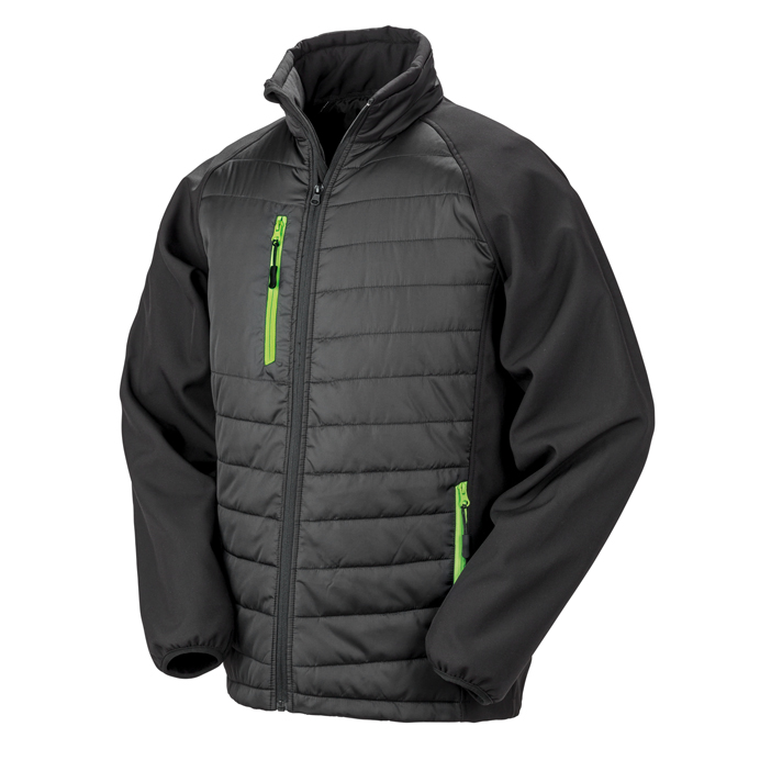 Printed Padded Soft Shell Jackets Black & Lime Green