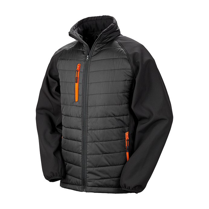 Printed Padded Soft Shell Jackets Black & Orange