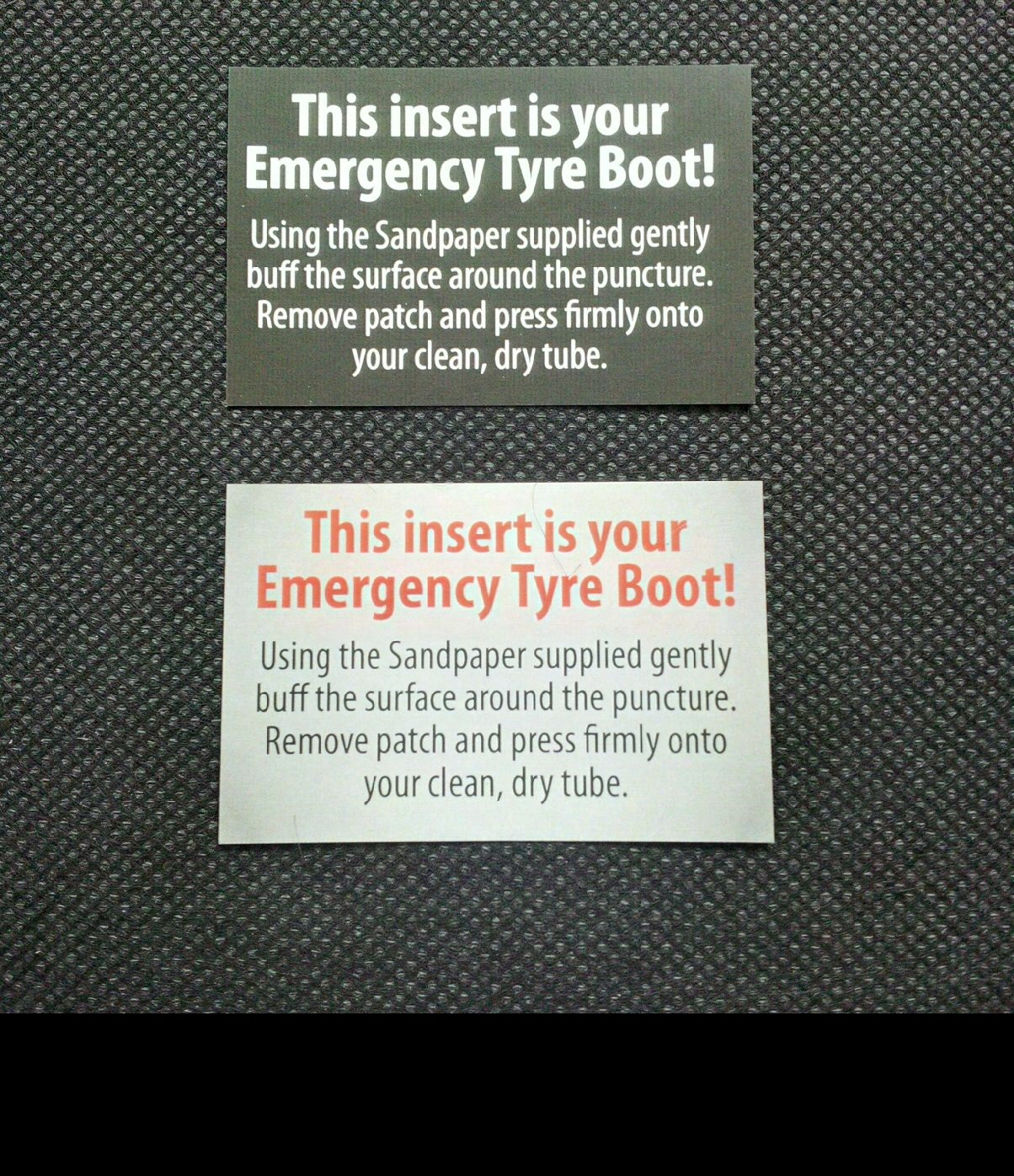 Emergency Tyre Boot Printed Inserts add value