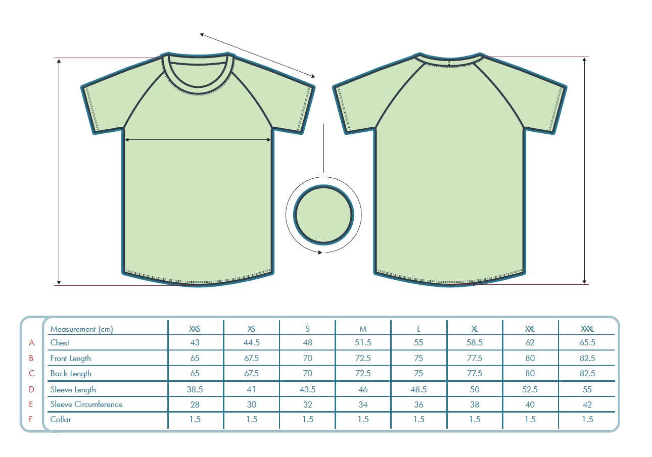 Custom Running Shirts with Raglan Sleeves Men's Sizing