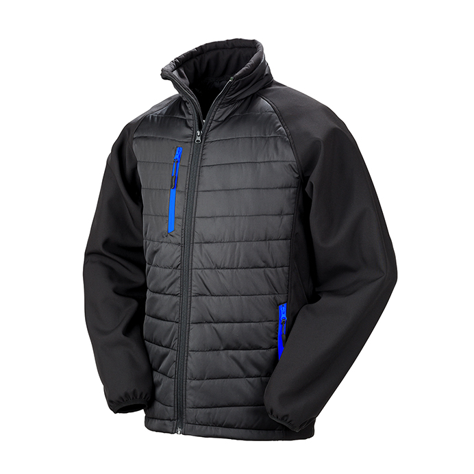 Printed Padded Soft Shell Jackets Black & Blue