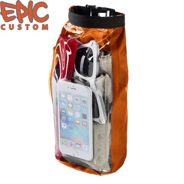 Custom Printed Waterproof Dry Bags with Phone Pouch ORANGE