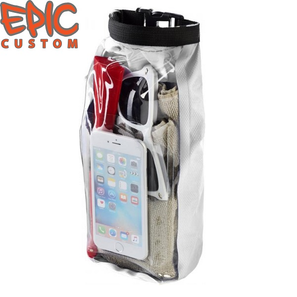 Custom Printed Waterproof Dry Bags with Phone Pouch WHITE