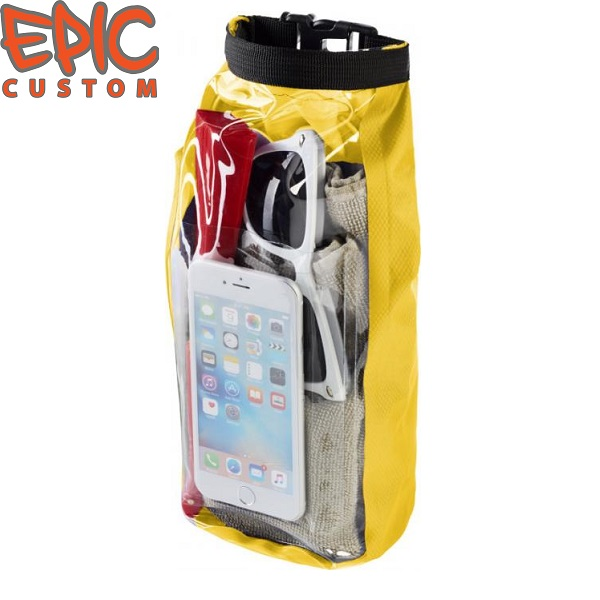 Custom Printed Waterproof Dry Bags with Phone Pouch YELLOW