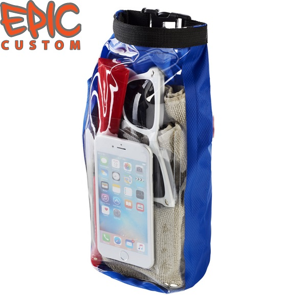 Custom Printed Waterproof Dry Bags with Phone Pouch BLUE