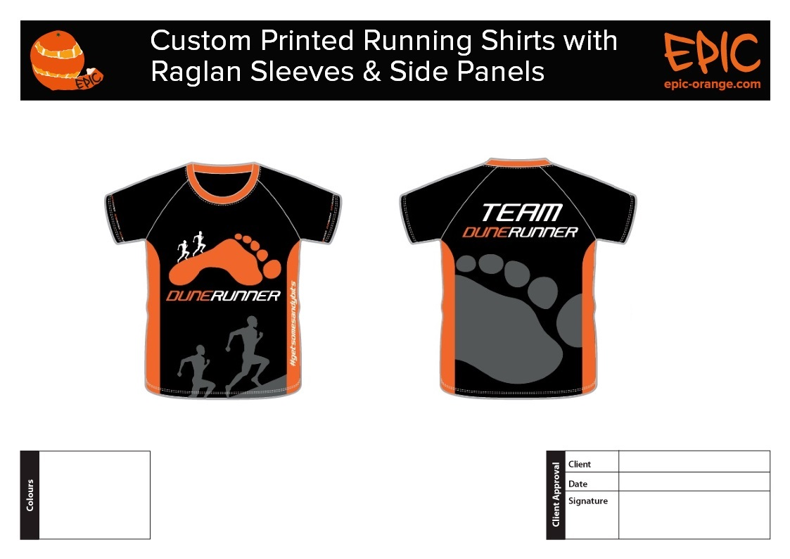 Custom Running Shirts with Raglan Sleeves & Side Panels