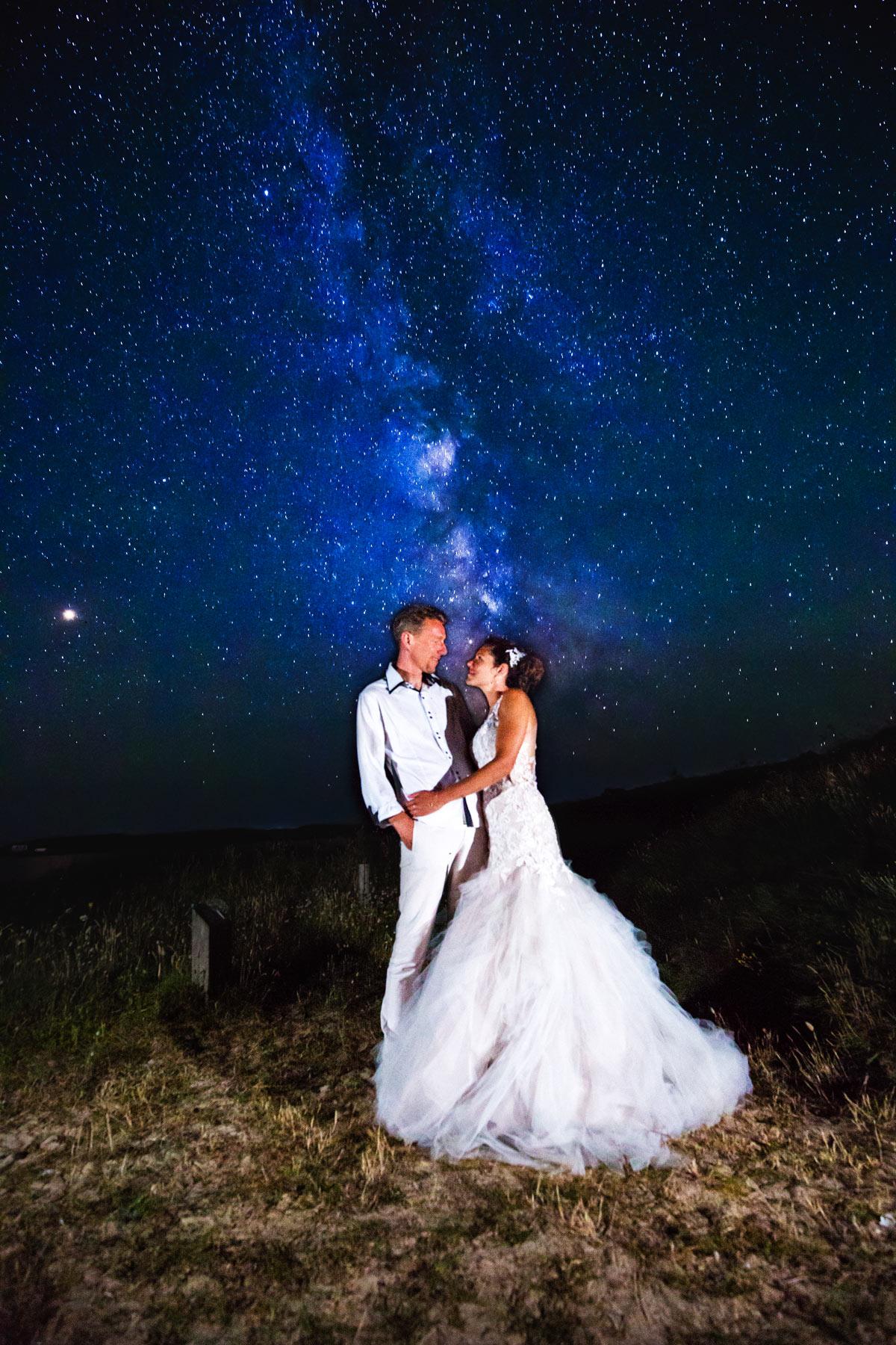 Reportage photo de mariage  Ile de Houat  , photo mariage voie lactée