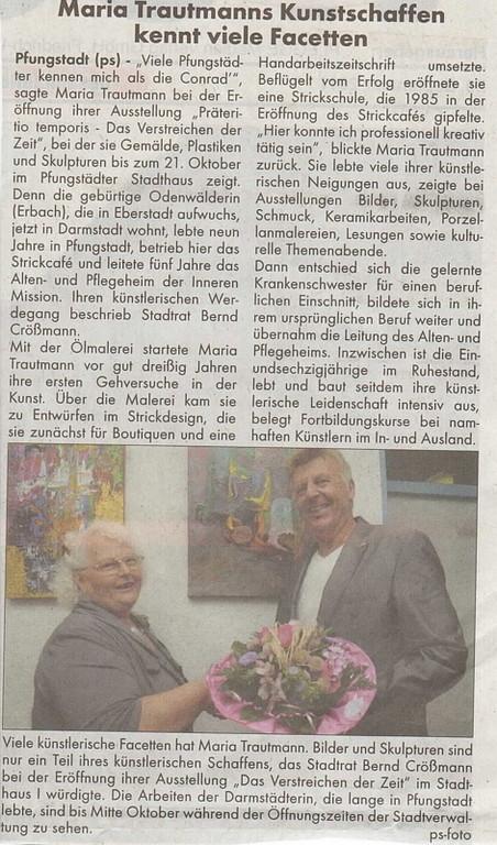 Artikel in der Pfungstädter Woche am 29. September 2011