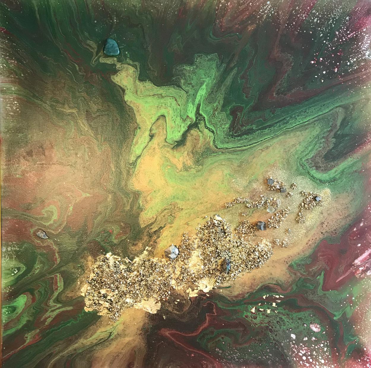 Goldader mit Pyrit und Fluorit