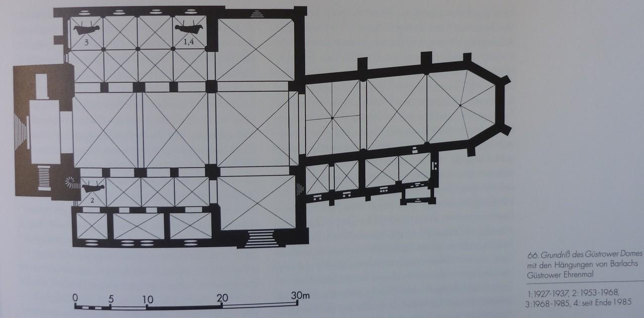 Die verschiedenen Aufhängungen der Schwebenden (1. und 3. Guss) im Güstrower Dom.