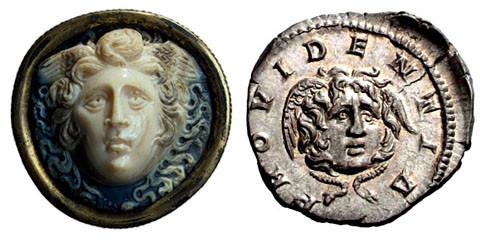Cammeo in sardonica e argento. San Pietroburgo, Museo dell'Ermitage / Roma, Impero, Septimius Severus, AR Denario