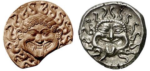 Antefissa di terracotta policroma. Heidelberg, Istituto Archeologico / Grecia, Tracia, Apollonia Pontica, AR Dracma