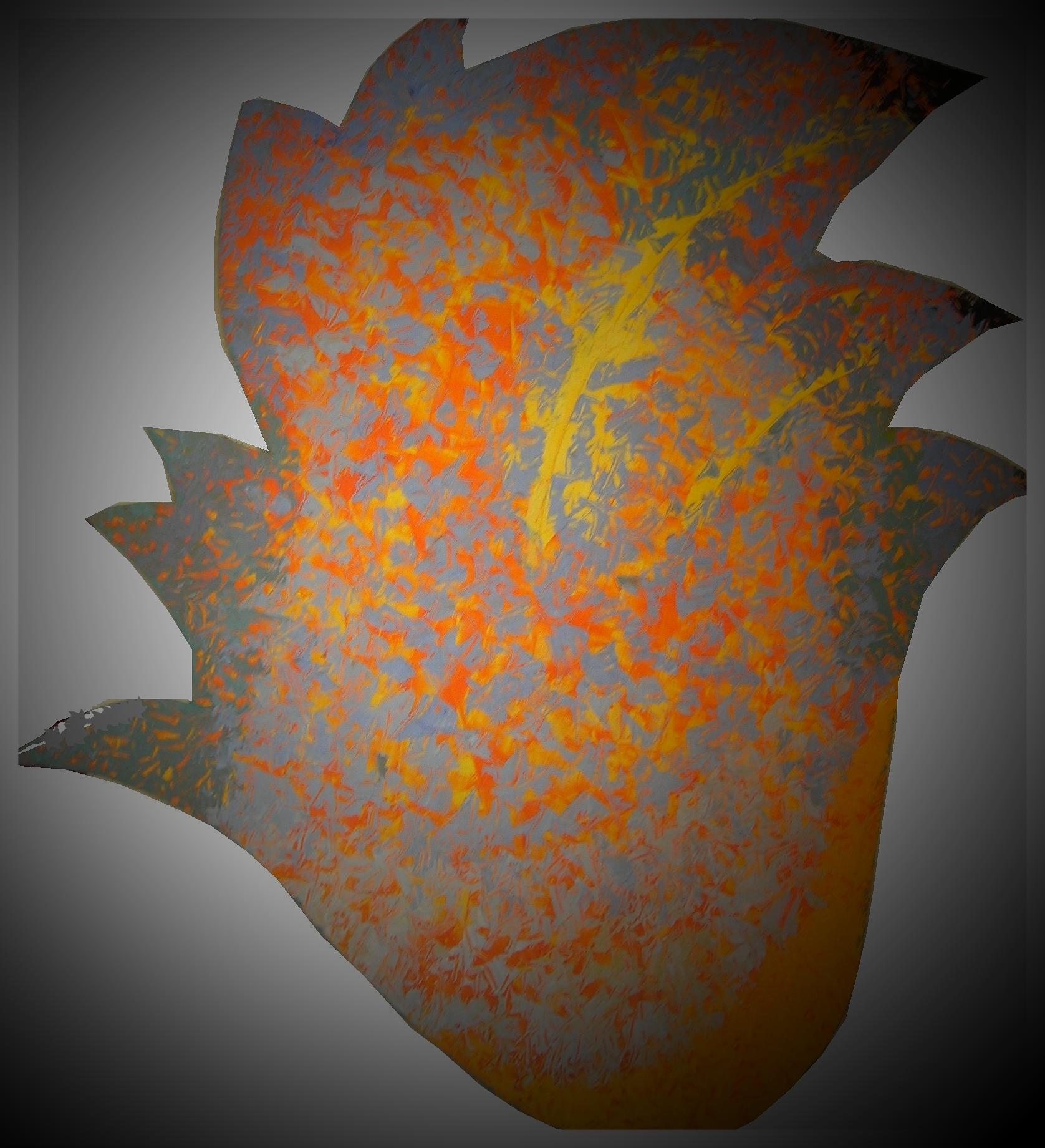 Blüte - Ölfarbe auf Holz - ca 50 x 30