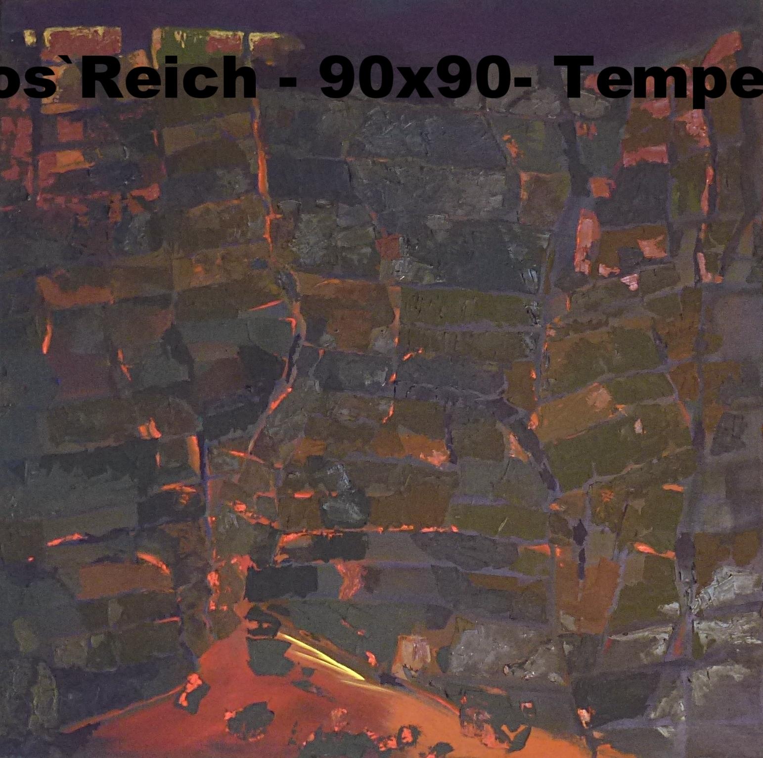 in Hephaistos Reich - gemagerte Ölfarbe und Eitempera auf Leinwand - 90 x 90