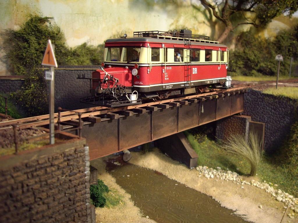 VT 133 auf der Brücke Richtung Weilrode