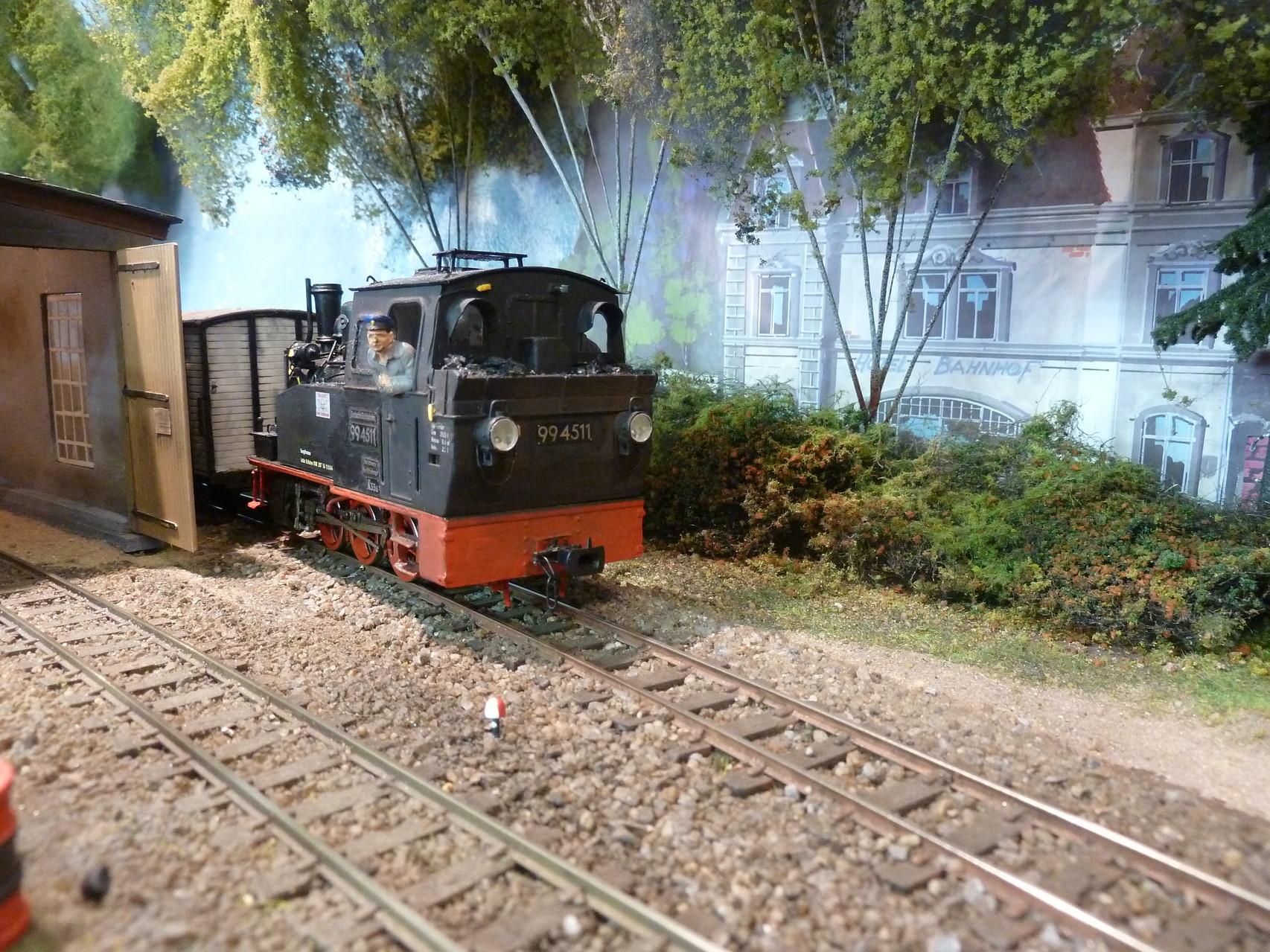 994511 zieht einen Zug von der Fähre