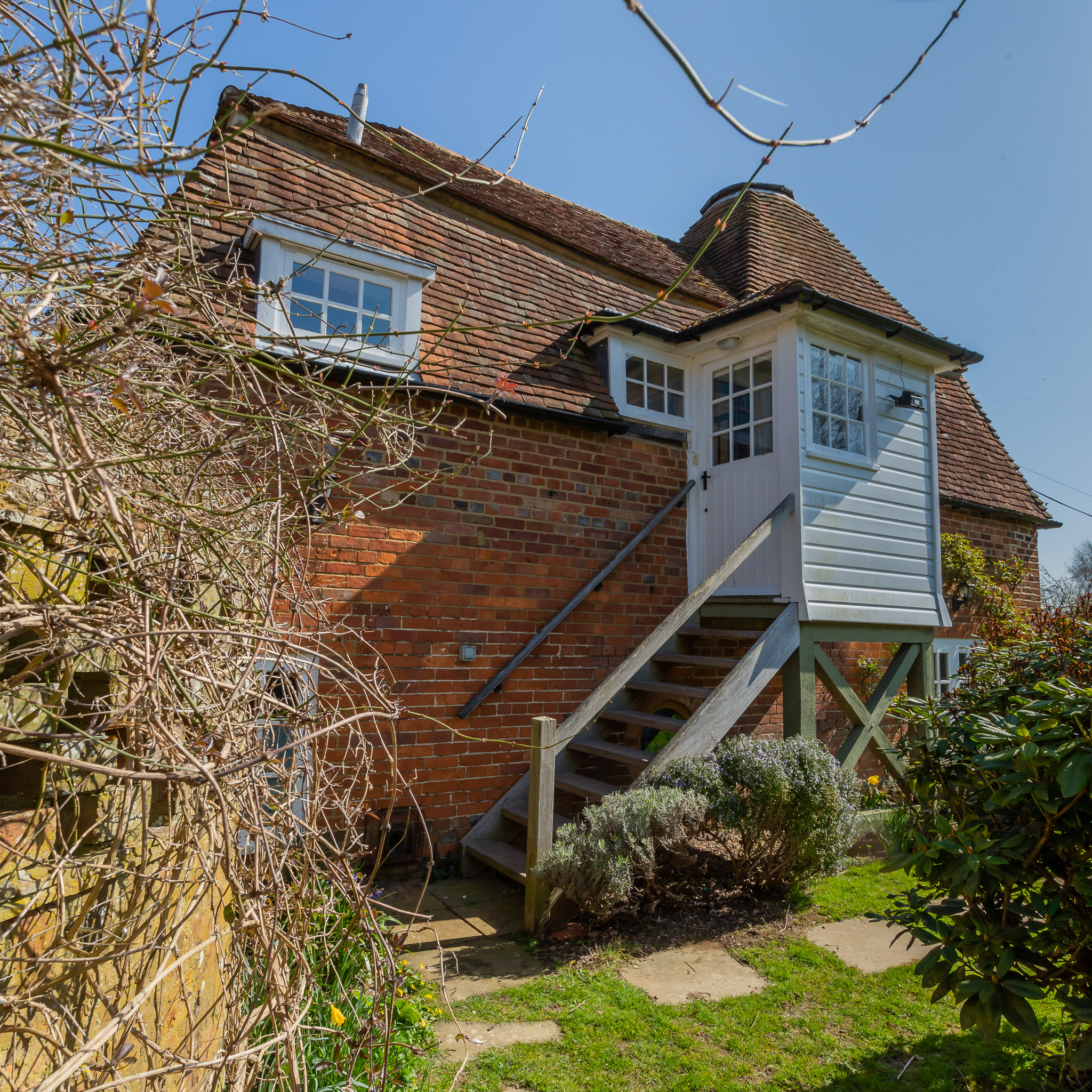 The oast is an upside down house, with the reception rooms upstairs and bedrooms downstairs