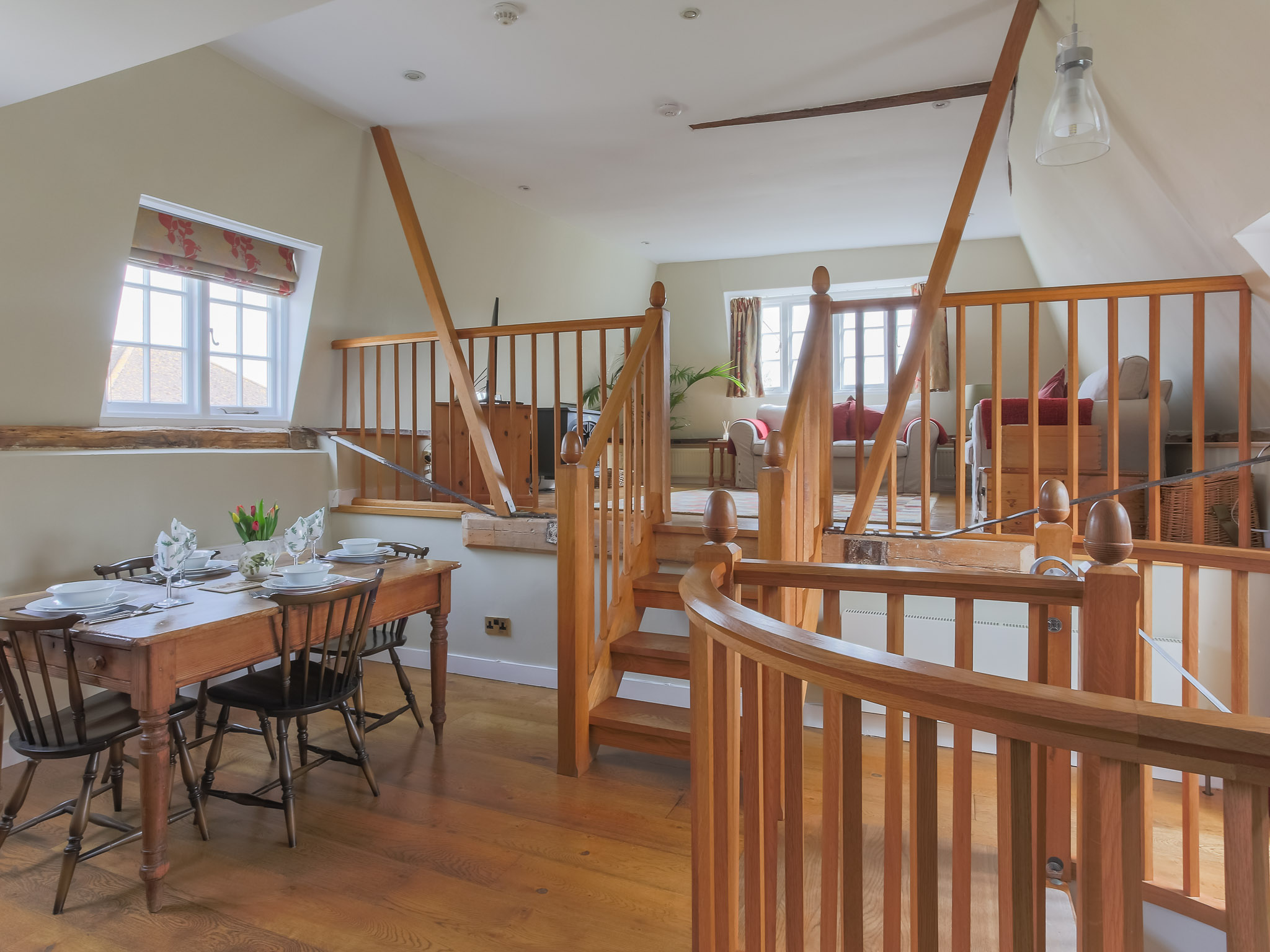 The oast has been thoughtfully converted with traditional materials