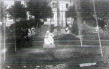 """(21) Вид фонтана на Кудринской площади с """"Октябрёнком"""" (1928г.)"""
