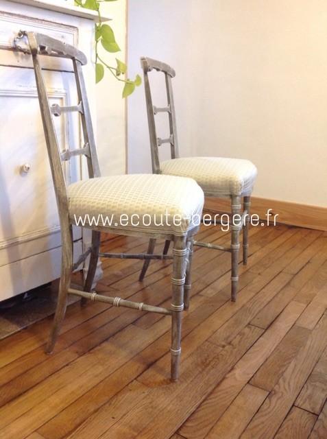 chaises Napoléon 3 patinées , tissu Bric Lelièvre, passementerie ruban Houlès - rénovation par Ecoute-Bergère