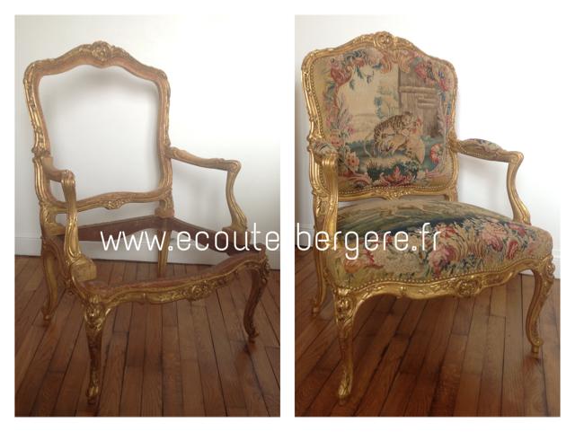 Fauteuil en bois doré - tapisserie ancienne restaurée - garniture traditionnelle végétale eco-responsable bio